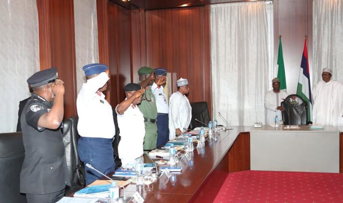 BUHARI, SECURITY CHIEFS MEET IN ABUJA