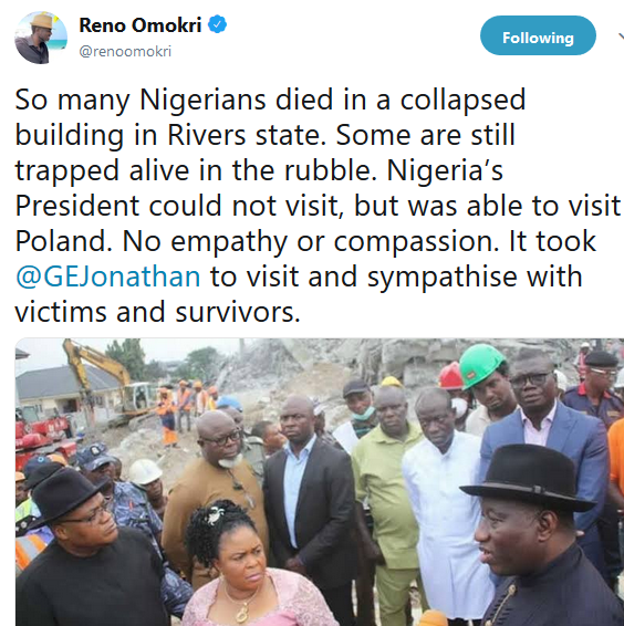 RENO OMOKRI CALLS OUT PRESIDENT BUHARI FOR NOT VISITING SITE OF 7-STOREY BUILDING THAT COLLAPSED IN RIVERS