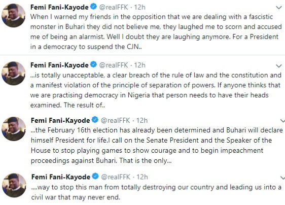 BEGIN IMPEACHMENT PROCEEDINGS AGAINST BUHARI NOW- FFK TELLS NATIONAL ASSEMBLY MEMBERS FOLLOWING THE SUSPENSION OF CJN WALTER ONNOGHEN