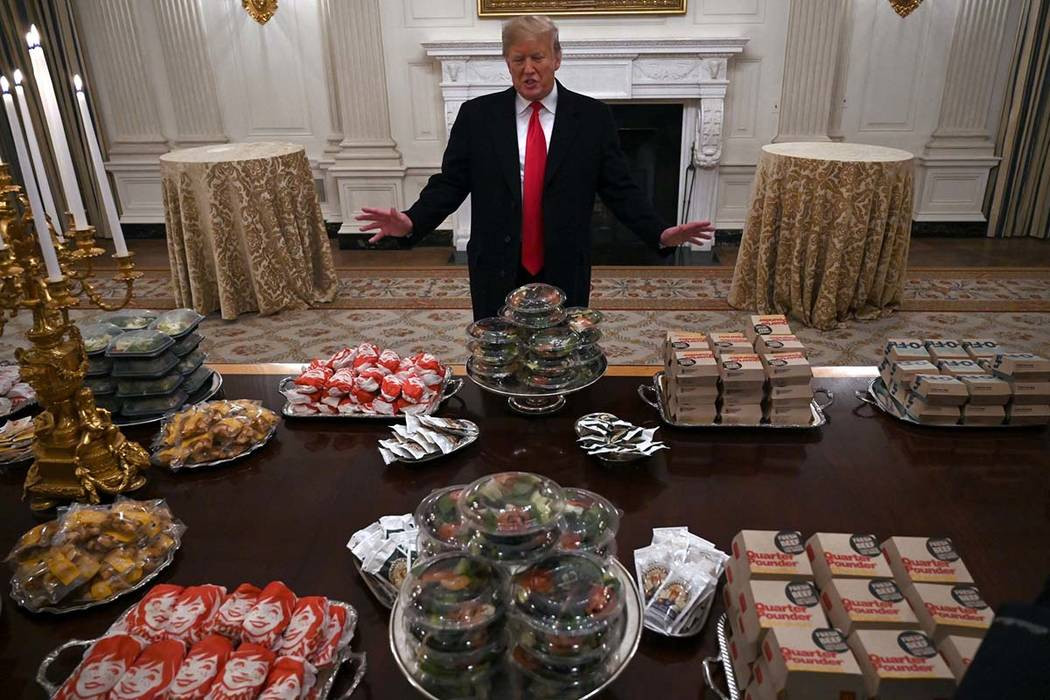 PRESIDENT TRUMP GETS BLASTED FOR SERVING FAST FOOD TO NFL COLLEGE CHAMPIONS CLEMSON TIGERS DURING WHITE HOUSE VISIT