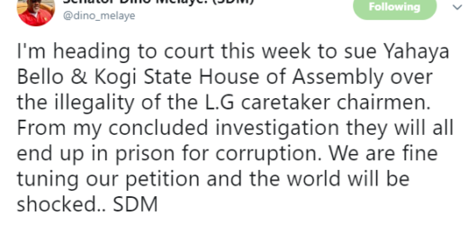 DINO MELAYE FILES NEW LAWSUIT AGAINST KOGI STATE GOVERNOR, YAHAYA BELLO, SAYS HE WILL SOON END UP IN PRISON