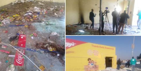 SOUTH AFRICAN RESIDENTS IN SOWETO GO ON A RAMPAGE, LOOTING FOREIGN-OWNED SHOPS