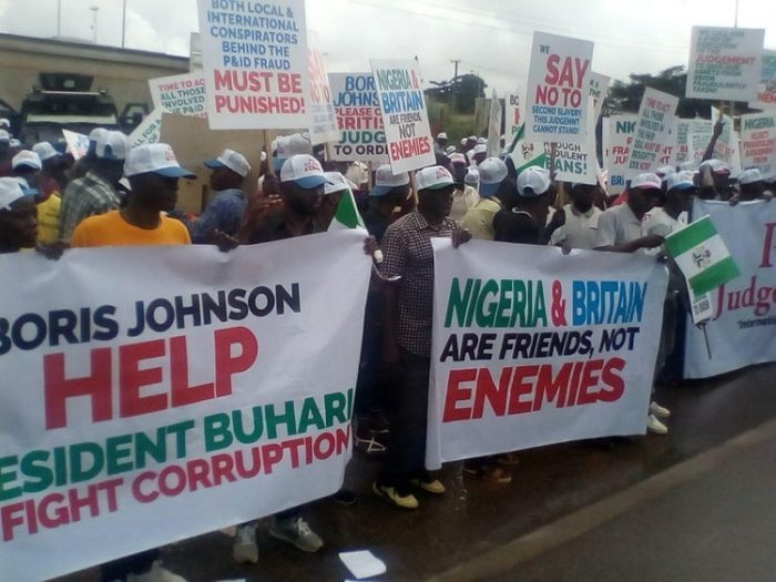$9.6BN JUDGMENT: MASSIVE PROTEST ROCKS UK HIGH COMMISSION OFFICE