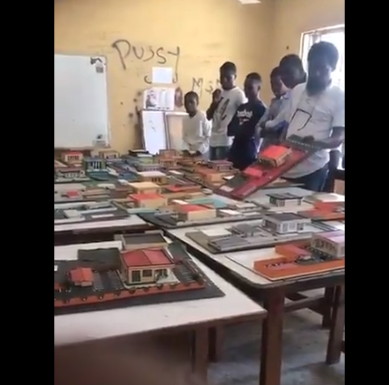 OUTRAGE AS ARCHITECTURE LECTURER IS FILMED TOSSING AND STOMPING ON MODELS MADE BY STUDENTS IN A NIGERIAN UNIVERSITY (VIDEO)