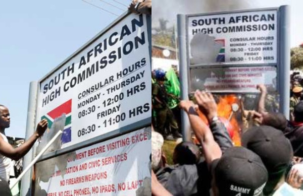 XENOPHOBIA: ZAMBIAN STUDENTS ATTACK SOUTH AFRICA EMBASSY, BURN DOWN ITS SIGNPOST (VIDEO)