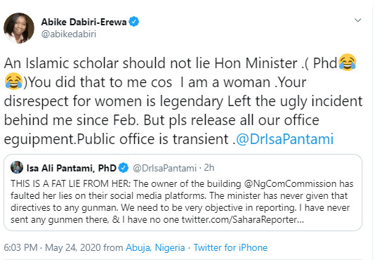 Description: A screenshot of the accusation and counter accusation between NIDCOM Chairperson, Abike Dabiri-Erewa and Minister of Communication and Digital Economy, Dr Isa Pantami.
