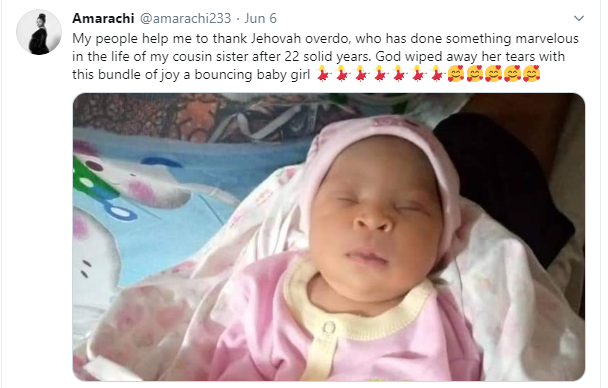 Description: Nigerian lady welcomes a baby girl after 22 years of marriage
