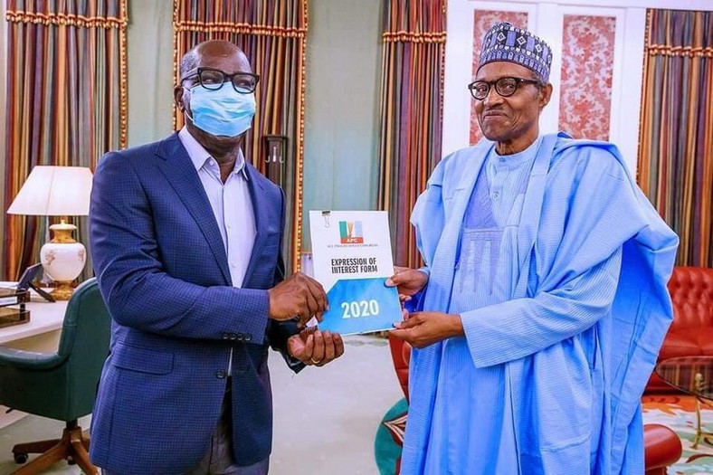 Description: Obaseki pays President Buhari (Right) a visit on June 1 after picking his nomination form (Presidency)