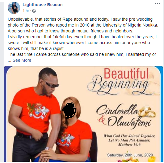 Description: Nigerian lady calls out about-to-wed schoolmate who allegedly raped her