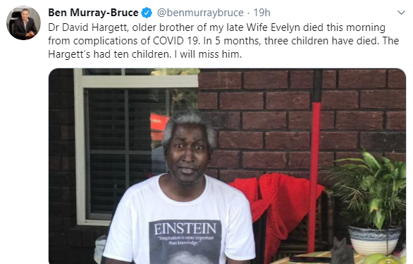 Description: Months after losing his wife to cancer, Senator Ben Bruce loses brother in-law to COVID-19