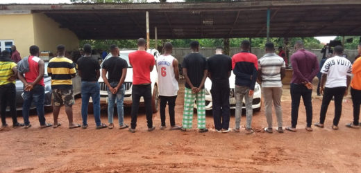 CARS SEIZED AS EFCC ARRESTS 14 SUSPECTED FRAUDSTERS IN ANAMBRA