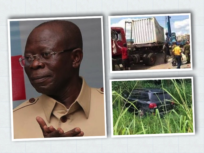 OSHIOMHOLE ESCAPES DEATH AS TRAILER CRASHES INTO CONVOY, 2 COPS KILLED