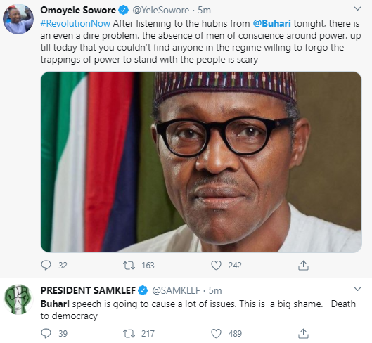 NIGERIANS REACT TO BUHARI'S SPEECH ON END SARS PROTESTS