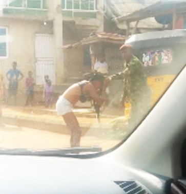 "SOLDIER BEATS AND STRIPS LADY NAKED FOR ""INDECENT DRESSING"" IN OGUN"