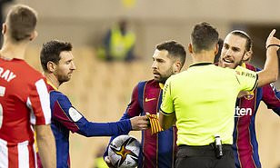 LIONEL MESSI SHOWN FIRST RED CARD OF BARCELONA CAREER AFTER PUNCHING OPPONENT AS ATHLETIC BILBAO BEAT BARCA 3-2 TO WIN SUPER CUP FINAL