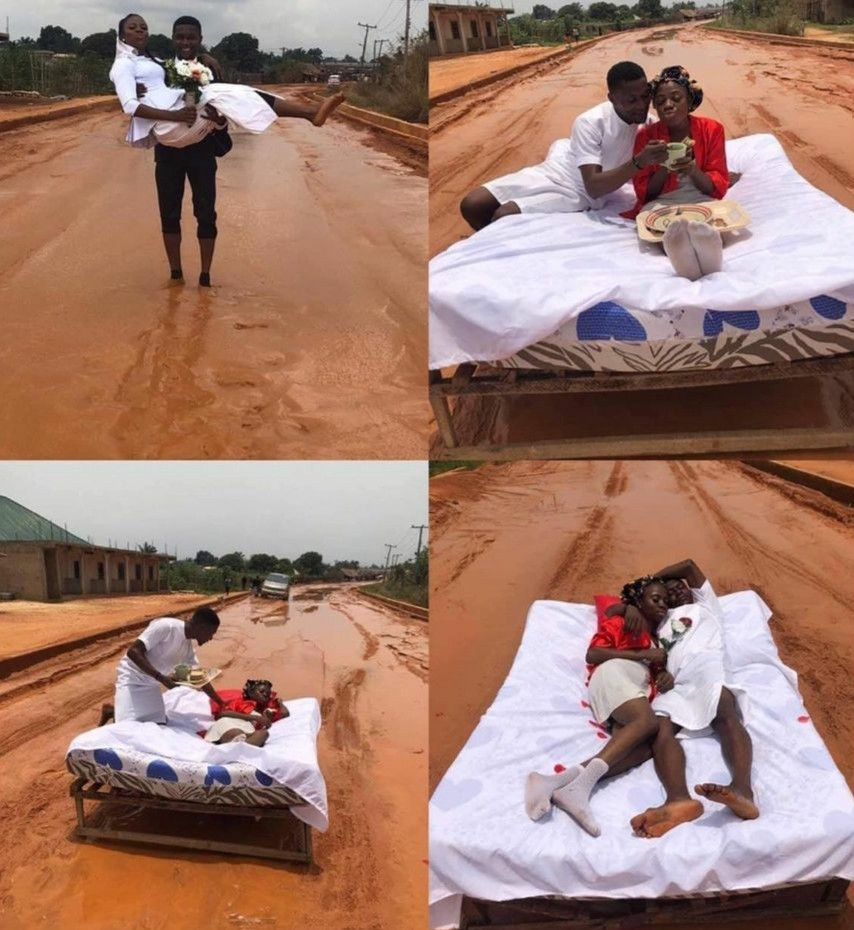 COUPLE STAGE THEIR HONEYMOON ON THE BAD OHI-OROGWE ROAD IN IMO. PHOTOS