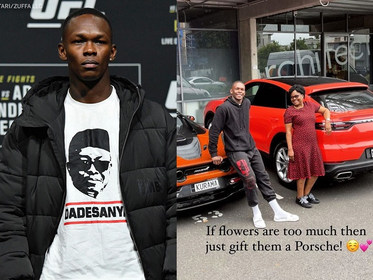 NIGERIAN MMA FIGHTER, ISRAEL ADESANYA HONOURS HIS FATHER AND BUYS HIS MOM A PORSCHE AHEAD OF HIS NEXT FIGHT ON SATURDAY (PHOTOS)