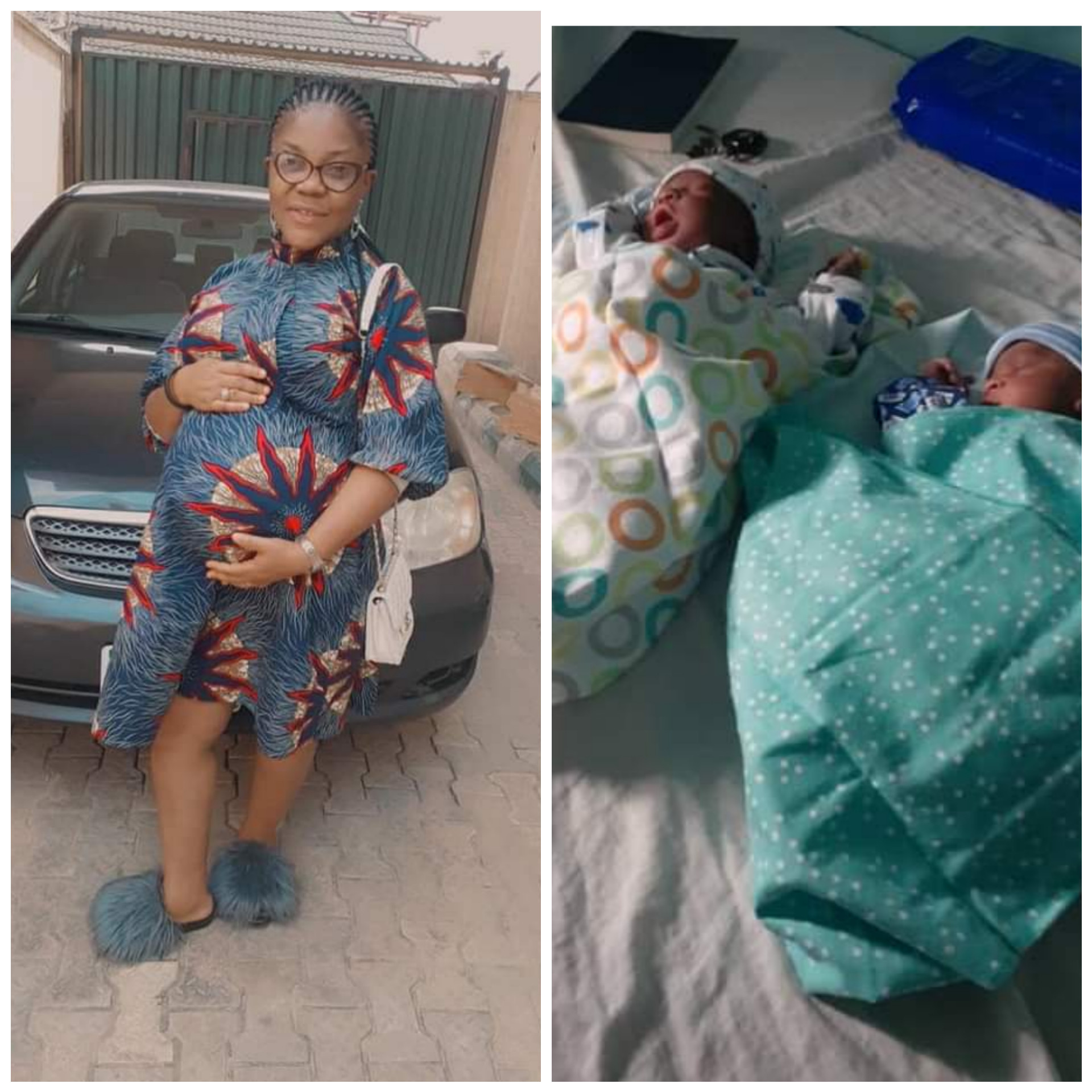 NIGERIAN WOMAN GIVES BIRTH TO TWINS AFTER 10 YEARS OF MARRIAGE (PHOTOS)