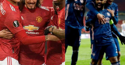 MANCHESTER UNITED & ARSENAL ADVANCE TO EUROPA LEAGUE SEMI-FINAL WITH CONVINCING 2-0, 4-0 WINS OVER GRANADA AND SLAVIA PRAGUE RESPECTIVELY (PHOTOS)