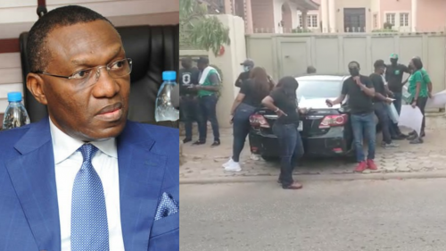 BANK WORKERS STORM SENATOR ANDY UBA'S HOUSE IN ABUJA, ASK HIM TO PAY UP HIS DEBT (PHOTOS)