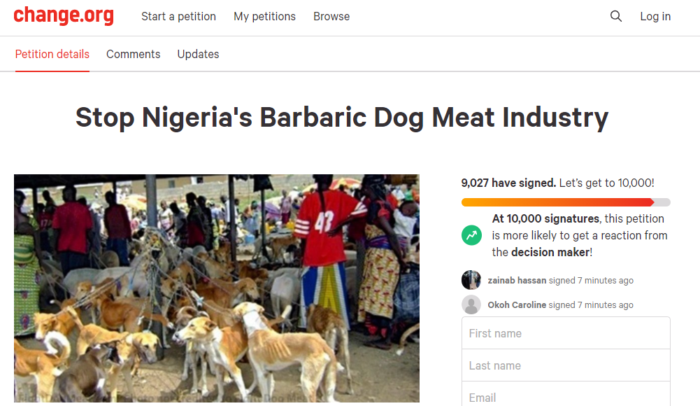 Description: Over 9,000 sign petition to stop Nigerians from eating dogs