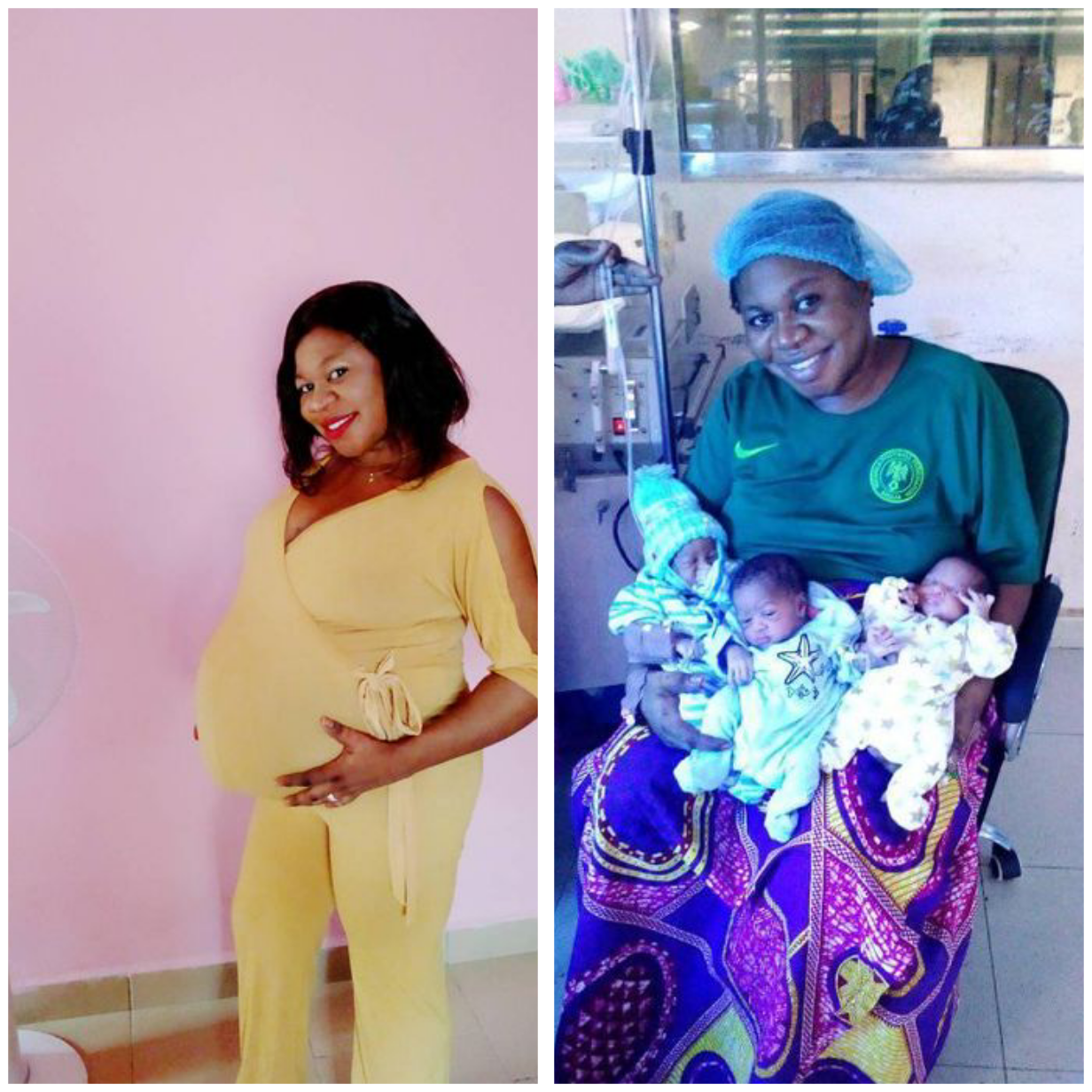 """NIGERIAN WOMAN DELIVERS TRIPLETS """"AFTER 9 YEARS OF NAME-CALLING AND INSULTS"""" PHOTOS"""