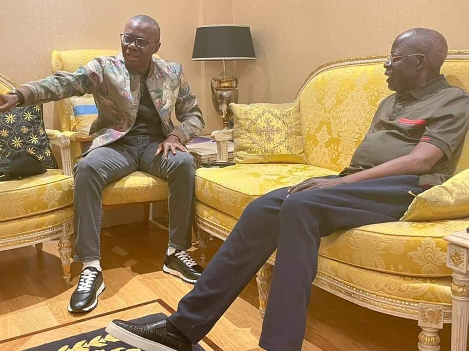 LOVELY PHOTO OF BOLA TINUBU WITH HIS GRANDCHILDREN IN LONDON AND ALSO GOVERNOR SANWO-OLU VISITED HIM. (PHOTOS)
