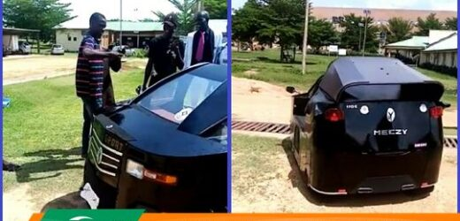 YOUNG NIGERIAN BOY BUILDS HIS OWN CAR AND PARADES IT DOWN THE STREET. PHOTOS